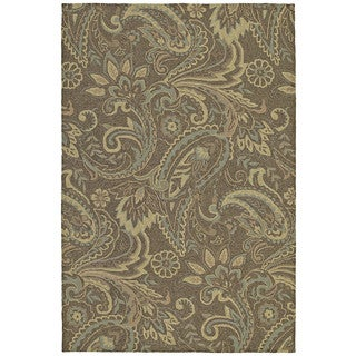 Indoor/ Outdoor Fiesta Brown Paisley Rug (3' x 5')