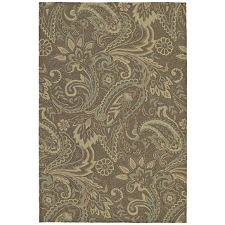 Indoor/ Outdoor Fiesta Brown Paisley Rug (7'6 x 9')
