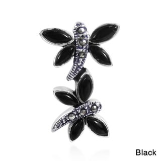 Exquisite Stone Dragonfly Duo Marcasite .925 Silver Pendant (Thailand)