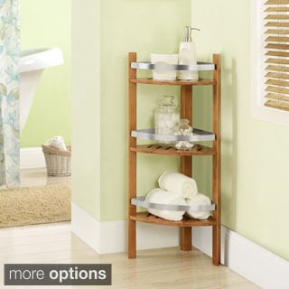 Bamboo Bathroom Shelves Corner Tower