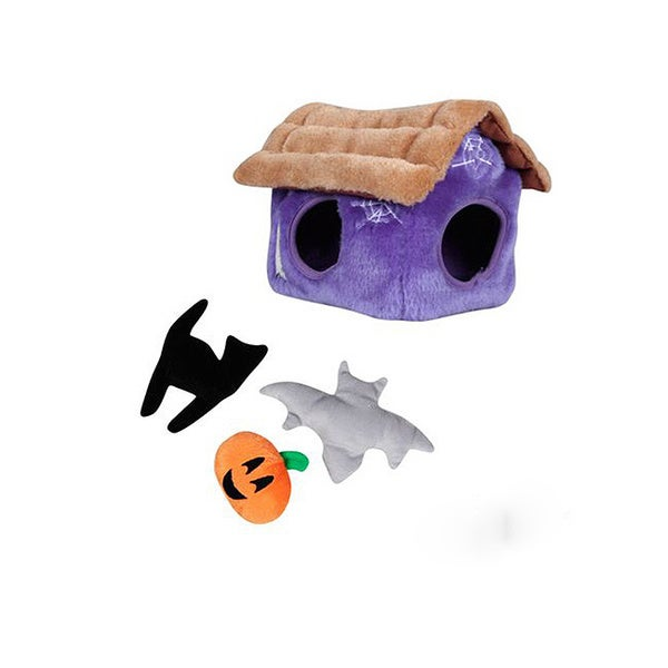 Kyjen Plush Puppies Halloween Hide A Haunted House Puzzle Play Dog Toy