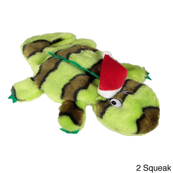 Kyjen Plush Puppies Invincibles Holiday Green Gecko Squeak Play Toy