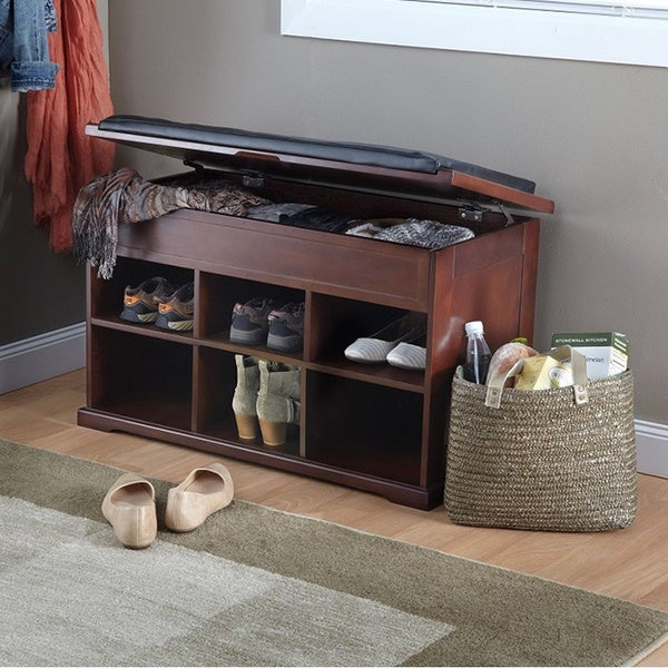 Overstock Foyer Bench : Wooden shoe bench wth cushion and storage overstock