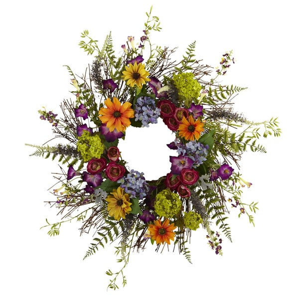 24-inch Spring Garden and Twig Wreath