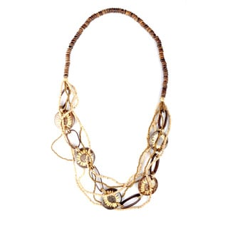 Thai-handicraft Earth-tone Flower Coconut Wood and Resin Bead Multi-strand Necklace (Thailand)