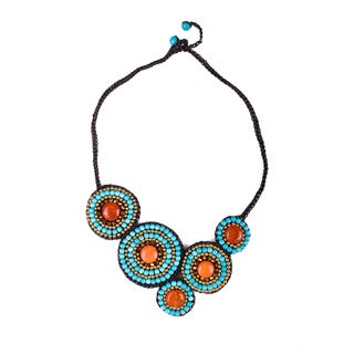 Thai-handicraft Gold-tone Orange Agate and Turquoise Crystal Bead Necklace (Thailand)