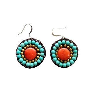 Thai-handicraft Gold-tone Orange Agate and Turquoise Crystal Bead Earrings (Thailand)