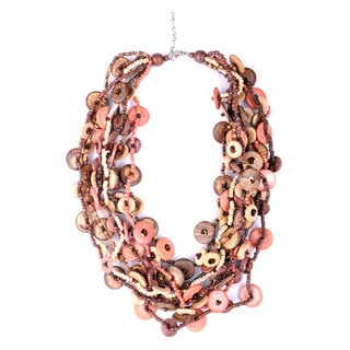 Thai-handicraft Multi-Strand Coconut Wood and Resin Bead Necklace (Thailand)