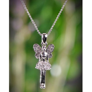 Silvertone Clear Crystal Fairy Necklace (Thailand)