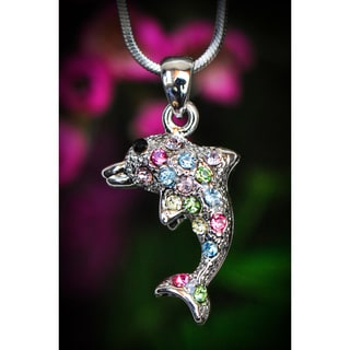 Silvertone Multi-colored Crystal Dolphin Necklace (Thailand)