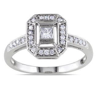 Miadora 14k White Gold 1/4ct TDW Princess-cut Diamond Engagement Ring (G-H, SI1-SI2)