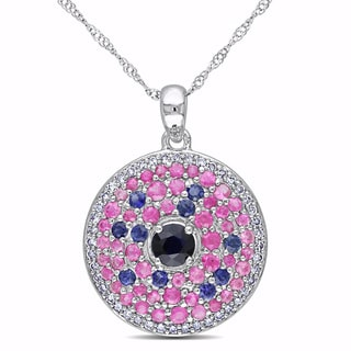 Miadora 14k White Gold Pink and Blue Sapphire and 1/5ct TDW Diamond Necklace (G-H, SI1-SI2)