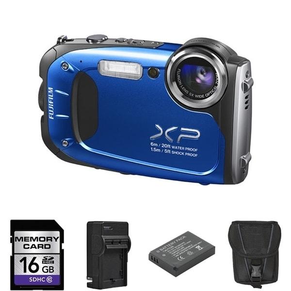 Fujifilm FinePix XP60 Waterproof Blue Digital Camera 16GB Bundle