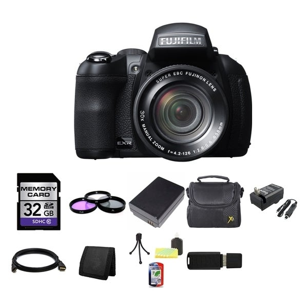 Fujifilm FinePix HS35EXR 16MP Black Digital Camera 32GB Bundle