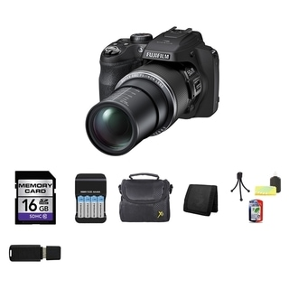 Fujifilm FinePix S8500 Bridge 16.2MP Black Digital Camera 16GB Bundle