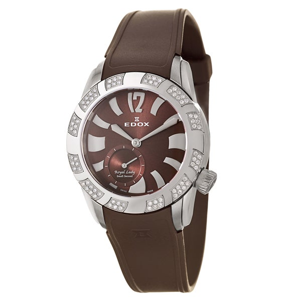 Edox 'Royal Lady' Women's Stainless Steel Brown-strap Swiss-quartz Watch