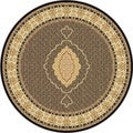 Centennial Black Round Traditional Area Rug (7' x 10')