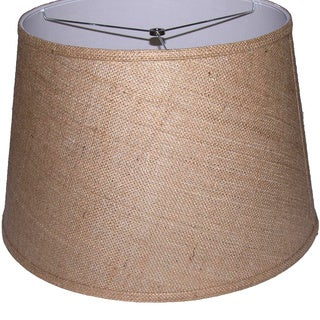 Brown Burlap Modified Drum Shade