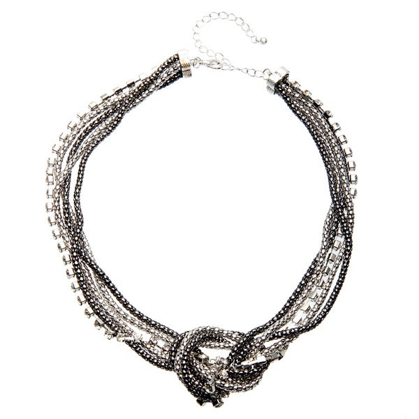Alexa Starr Multi Row Mesh and Rhinestone Necklace