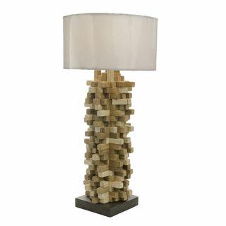 Teak Wood Spike Table Lamp