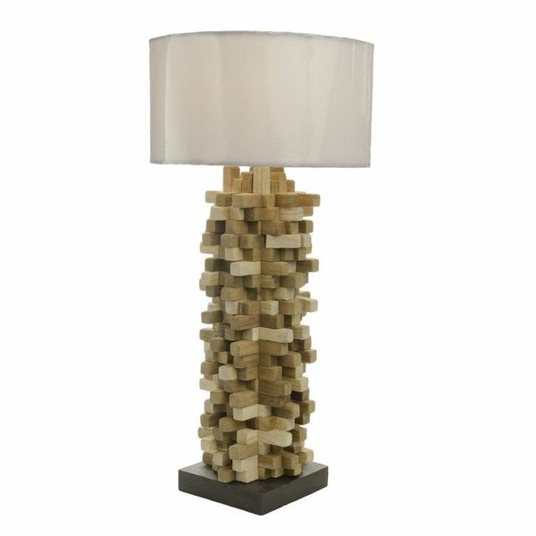 Teak Wood Spike Table Lamp