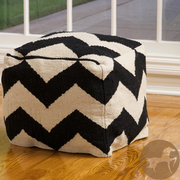 Christopher Knight Home Chevron Black and White Wool Pouf Ottoman