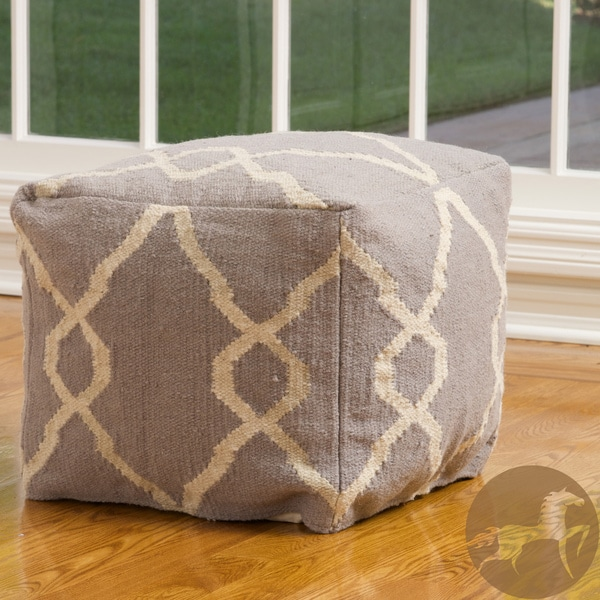 Christopher Knight Home Jordyn Grey and White Wool Pouf Ottoman