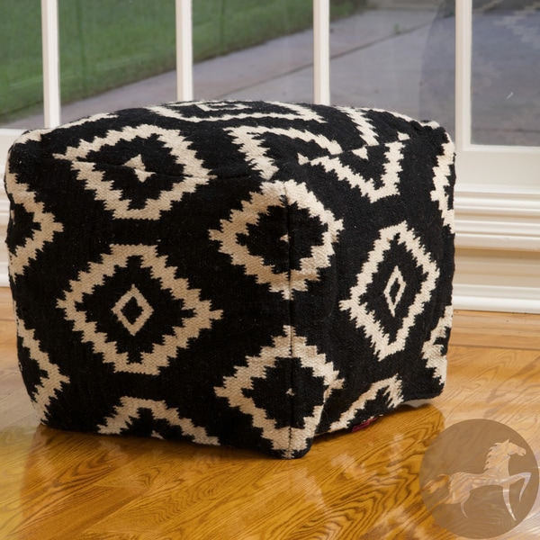 Christopher Knight Home Sequoyah Black and White Wool Pouf Ottoman