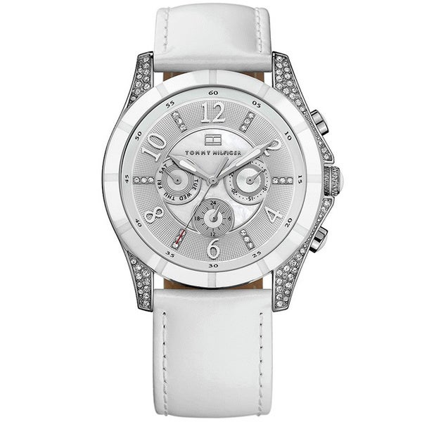 Tommy Hilfiger Moab Women's Grey Dial and White Leather Strap Watch