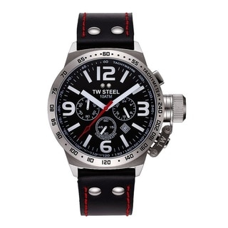 TW Steel Canteen Men's Steel Case and Black Leather Strap Watch