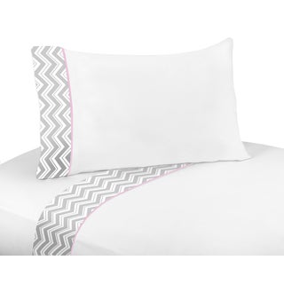 Sweet JoJo Designs 200 Thread Count Sheet Set for Pink and Grey Chevron Bedding Collection