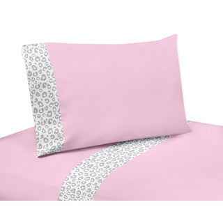 Sweet JoJo Design 200 Thread Count Sheets 4-piece Queen Sheet Set for Pink and Grey Kenya Bedding Collection