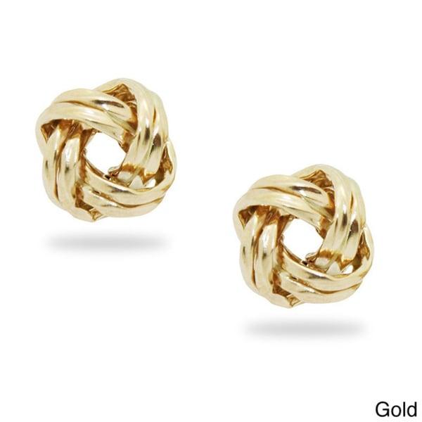 Gioelli 14k Gold Twisted Love Knot Stud Earrings