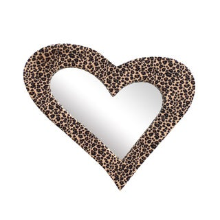 Leopard Fur Heart 21-inch Fur Wall Mirror