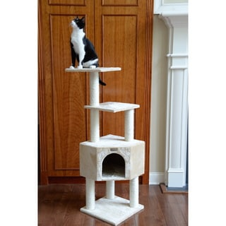 GleePet 48-inch Beige Cat Tree with Scratching Posts and Condo