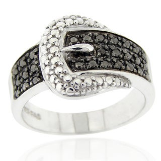 DB Designs Black Diamond Accent Buckle Ring