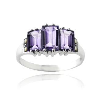 Glitzy Rocks Sterling Silver Amethyst Ring