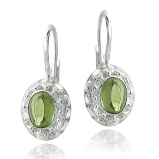 Glitzy Rocks Sterling Silver Oval-cut Peridot Earrings