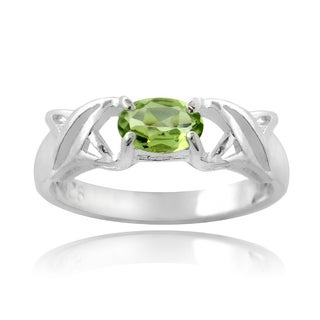 Glitzy Rocks Sterling Silver Peridot X and O Ring