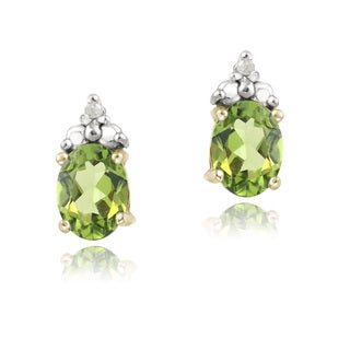 Glitzy Rocks Gold over Silver Peridot and Diamond-accent Earrings (I-J, I2-I3)