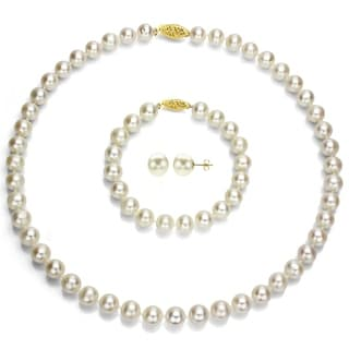DaVonna 14k Yellow Gold White Round Akoya Pearl Jewelry Set (7.5-8 mm)