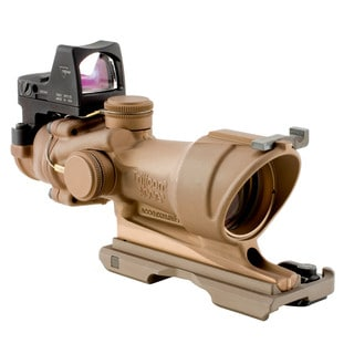 Trijicon ACOG 4x32 Dark Earth Brown Scope, Center Illumination Amber Crosshair Reticle with 3.25 MOA RMR Sight