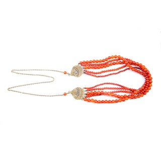 Multi-strand Amber Carnelian Antique Gold Beaded Necklace (China)
