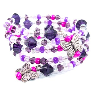 Child's Purple and Pink Butterfly Beaded Wrap Bracelet (China)