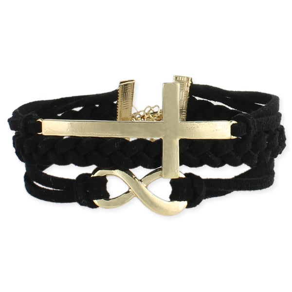 Handcrafted Black Suede Sideways Cross and Infinity Bracelet (India)