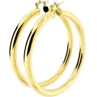 5mm Wide Gold Plated Hoop Earrings (Brazil)