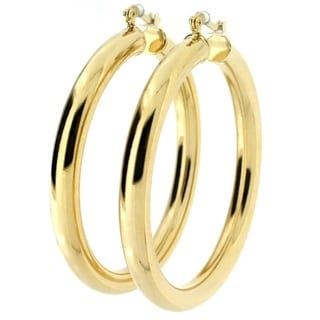 4mm Wide Gold Plated Hoop Earrings (Brazil)