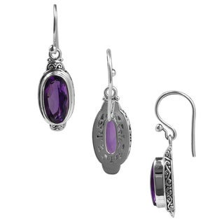 Sterling Silver Bali Faceted Oval Amethyst Dangle Earrings (Indonesia)