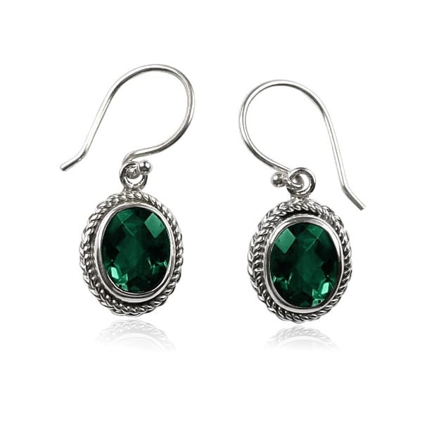 Sterling Silver Bali Faceted Oval Green Quartz Dangle Earrings (Indonesia)