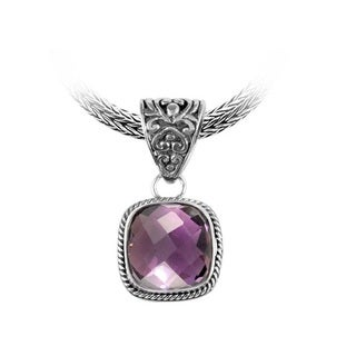 Sterling Silver Bali Faceted Square Amethyst Rope Bezel Pendant (Indonesia)